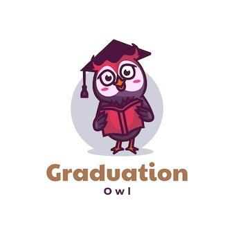 Logo illustration graduation maskottchen cartoon style.