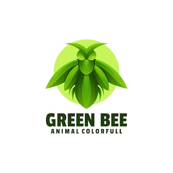 Logo illustration green bee farbverlauf bunter stil