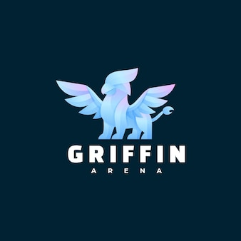 Logo illustration griffin farbverlauf bunter stil.