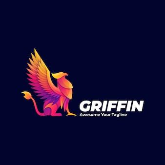 Logo illustration griffin mythologie pose gradient bunt