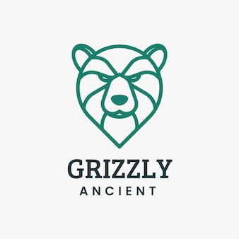 Logo illustration grizzly line art style.