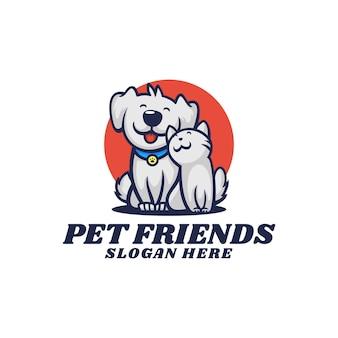 Logo illustration haustier freunde maskottchen cartoon-stil