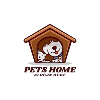Logo illustration haustiere zuhause maskottchen cartoon-stil
