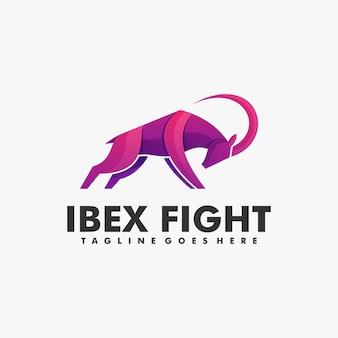 Logo illustration ibex fight gradient bunter stil.