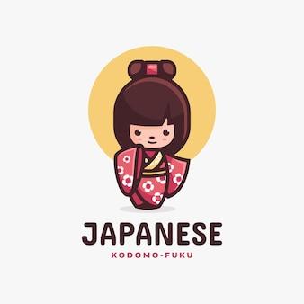 Logo illustration japanischer einfacher maskottchen-stil.