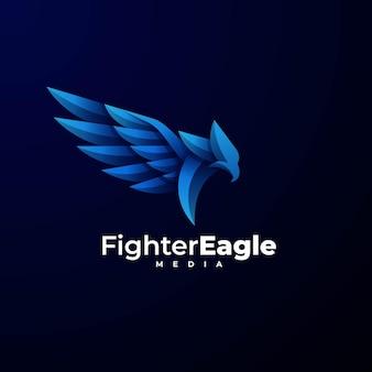 Logo illustration kämpfer adler farbverlauf bunter stil.