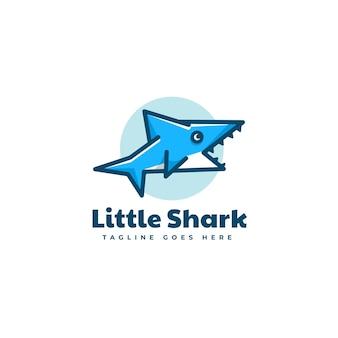Logo illustration kleiner hai einfacher maskottchen-stil