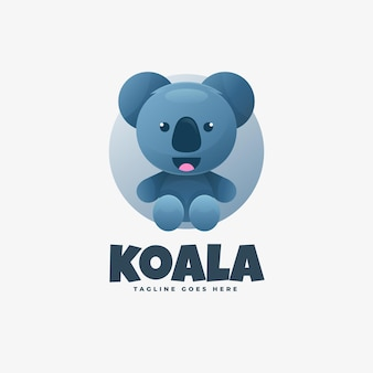 Logo illustration koala farbverlauf bunter stil.