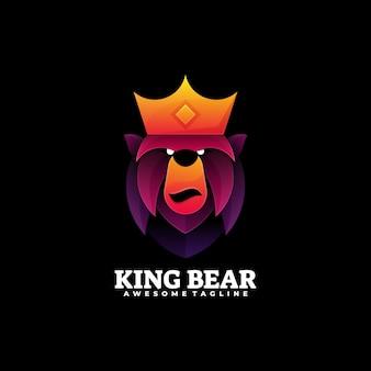 Logo illustration könig bär farbverlauf bunter stil.