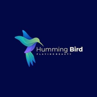 Logo-illustration kolibri-farbverlauf-bunter stil.