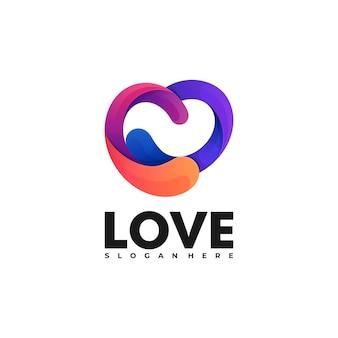Logo illustration liebe farbverlauf bunter stil.