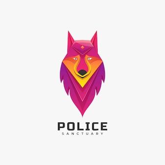Logo illustration lion police farbverlauf bunter stil.