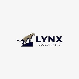 Logo illustration lynx pose maskottchen cartoon style