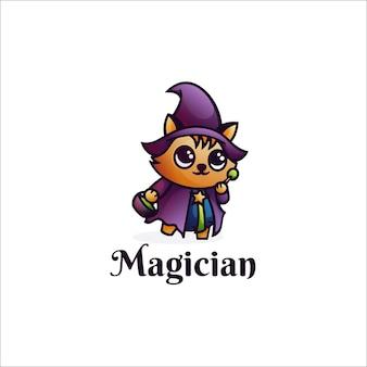 Logo illustration magier maskottchen cartoon style.