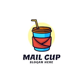 Logo illustration mail cup einfacher maskottchen-stil
