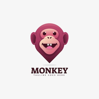 Logo illustration monkey gradient bunter stil.