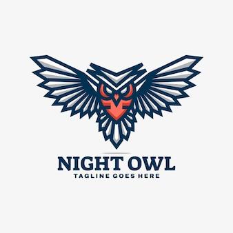 Logo illustration nachteule einfacher maskottchen-stil.