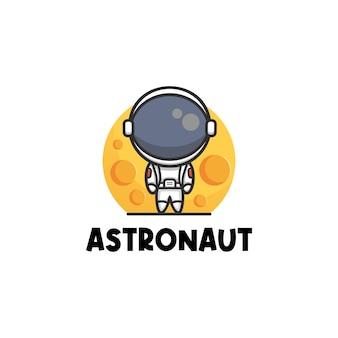 Logo illustration niedlichen astronauten