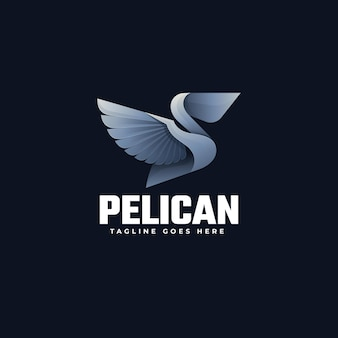Logo illustration pelican gradient bunter stil.