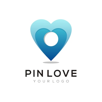 Logo illustration pin liebe farbverlauf bunten stil