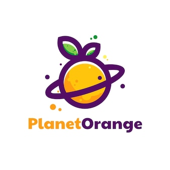Logo illustration planet orange farbe maskottchen stil