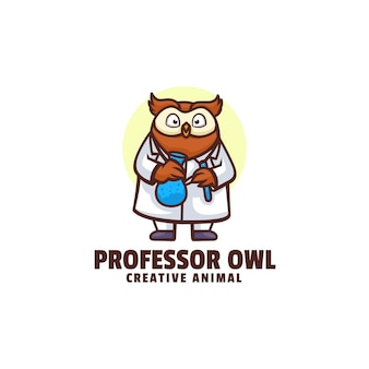 Logo illustration professor eule maskottchen cartoon-stil
