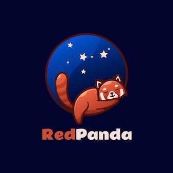Logo illustration red panda einfacher maskottchen-stil.