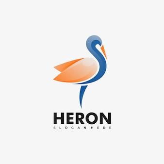 Logo illustration reiher farbverlauf bunter stil.