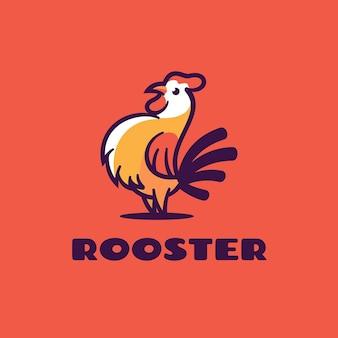 Logo illustration rooster einfacher maskottchen-stil. Premium Vektoren