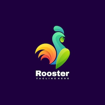 Logo illustration rooster gradient bunter stil.