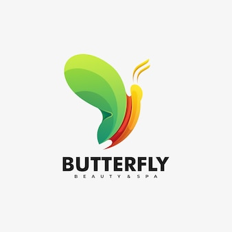 Logo illustration schmetterling farbverlauf bunter stil.