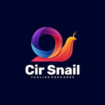 Logo illustration schnecke farbverlauf bunter stil.