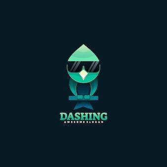 Logo-illustration schneidiger farbverlauf des farbverlaufs.