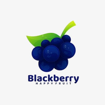 Logo illustration schwarzer beeren-farbverlauf bunter stil.