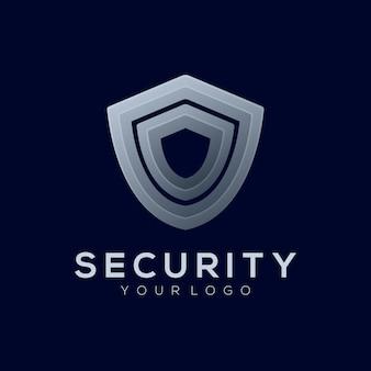 Logo illustration sicherheitsgradient silber stil