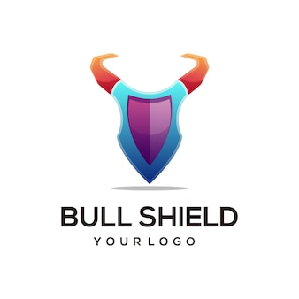 Logo illustration stierschild farbverlauf bunten stil