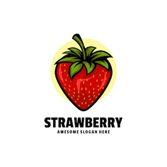 Logo illustration strawberry simple mascot style.