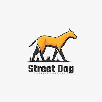 Logo illustration street dog einfacher maskottchen-stil.