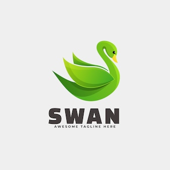 Logo illustration swan gradient bunter stil.