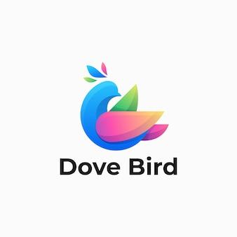 Logo illustration taube vogel farbverlauf bunte stil