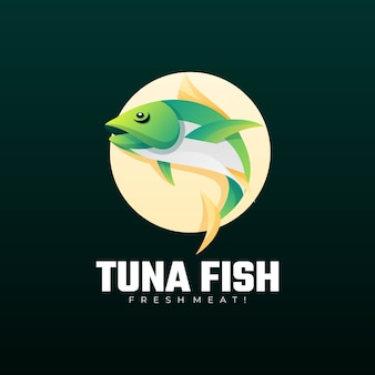 Logo illustration thunfisch-farbverlauf bunter stil.