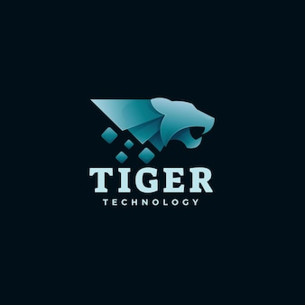 Logo illustration tiger farbverlauf bunter stil.