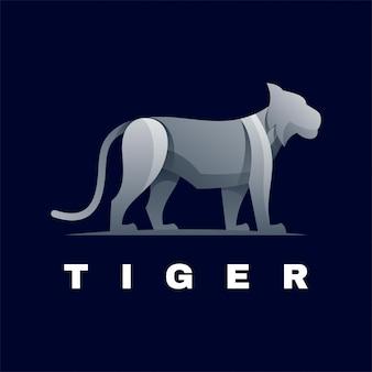 Logo illustration tiger farbverlauf bunter stil.