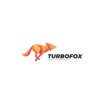 Logo illustration turbo fox farbverlauf bunter stil