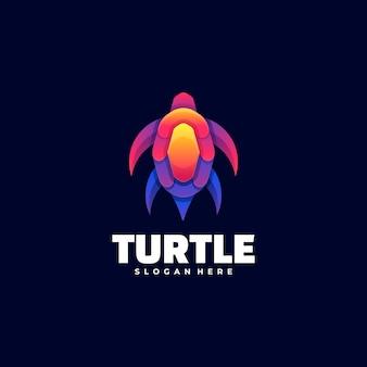 Logo illustration turtle gradient bunter stil.