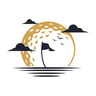 Logo illustration von sunset golf