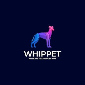 Logo illustration whippet pose farbverlauf bunt