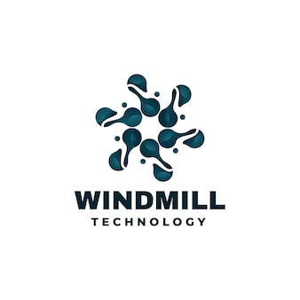 Logo illustration windmühle farbverlauf bunter stil