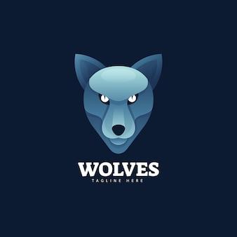 Logo illustration wolf farbverlauf bunter stil.