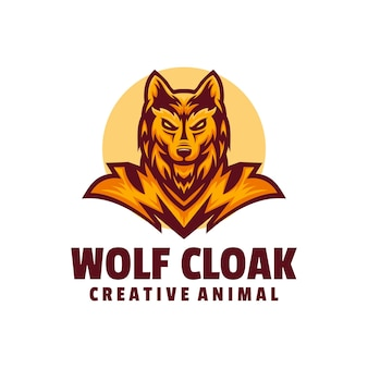 Logo illustration wolf umhang maskottchen cartoon style.